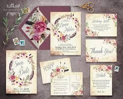 wedding stationery sets floral wedding invitation set printable boho wedding