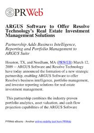 argus software to offer resolve technologys real estate