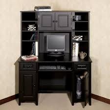 furniture dark wooden corner computer desk with hutch and book