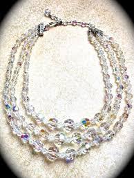 vintage crystal choker necklace images 3 strand crystal necklace aurora borealis necklace wedding jpg