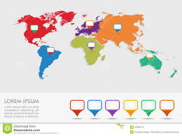 World Map With Pins by World Map With Geo Position Pins Eps10 Vector File Stock Images