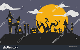 hunting house for halloween typography halloween gothic haunted house pumpkin stock vector