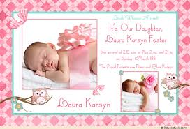 baby announcement wording owl photo birth announcement blossom girl pink