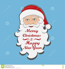 santa claus isolated merry and happy new year message