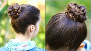 quick u0026 easy braided bun for 2 minute hairstyle step