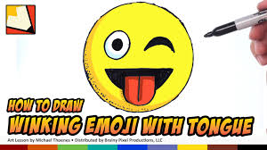 how to draw emojis winking with tongue sticking out step by