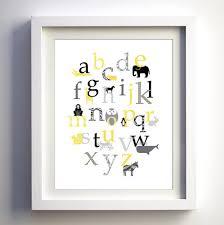 Modern Nursery Wall Decor Baby Nursery Wall Decor Retro Animal Alphabet By Fancy Prints