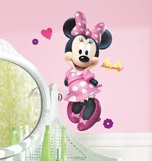 minnie mouse bedroom decor archives groovy kids gear mickey and friends minnie bow tique peel and stick giant wall decal