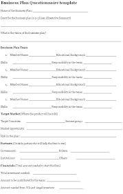 business plan questionnaire questionnaire sample business plan