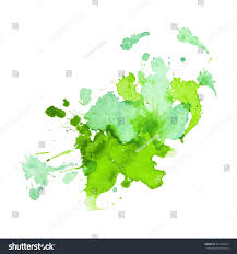 expressive watercolor stain splashes drops green stock vector