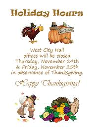 thanksgiving hours city of west
