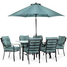 Patio Dining Set With Umbrella Hanover Lavallette Black Steel 7 Outdoor Dining Set With