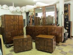 vintage lane bedroom set dresser chest mirror brutalist mid