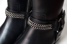 classic leather motorcycle boots saint laurent signature chain harness wyatt boots review luster