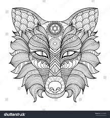 detail zentangle fox coloring page stock vector 320718698