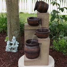 solar fountains with lights sunnydaze cascading terra bowls solar on demand water fountain with