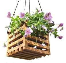 hanging planter basket elegant wood garden decor hanging planter basket from recycled wood