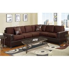 Leather Or Microfiber Sofa by 2 Piece Modern Large Microfiber And Faux Leather Sectional Sofa