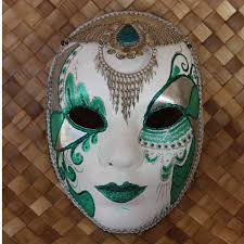 venetian decorative mask with wearable necklace in turquoise