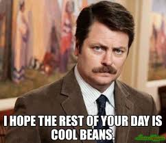 Meme Cool - i hope the rest of your day is cool beans meme ron swanson 4606