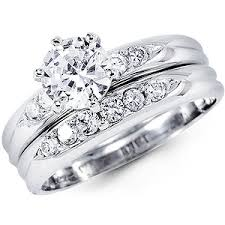 white gold wedding ring sets 14k white gold cubic zirconia wedding ring set at