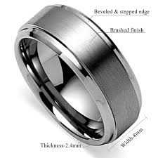 beveled ring king will basic men s tungsten carbide ring 8mm polished beveled