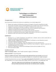 horaire bureau d emploi offre d emploi technologue en architecture féchaqc