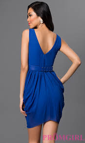 short sleeveless v neck cocktail party dress promgirl