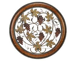 grapes of plenty round metal wall hanging