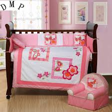 Bedding Nursery Sets 7pcs Embroidery Pink Crib Bedding Bumper Set Infant Nursery Set