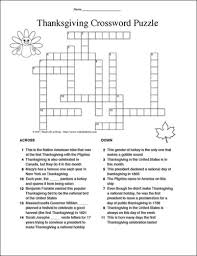 education thanksgiving crossword puzzle answers free