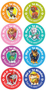personalised birthday party gift bag stickers paw patrol