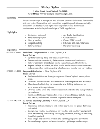 Job Resume Summary by Truck Driver Resume Summary Resume For Your Job Application