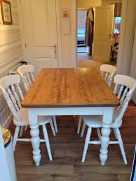 Waxed Pine Dining Table Sand Back The Table Top Finish It With A Wax And Paint The