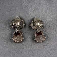 silver clip on earrings pre owned stephen dweck sterling silver garnet and quartz clip earrings