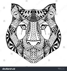 tiger head antistress coloring page stock illustration