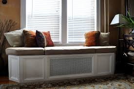 awasome white custom wooden bay window seat with cute interior
