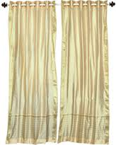 Sari Curtain Autumn Special White Silver Tie Top Sheer Sari Curtain Drape And