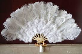 white marabou ostrich fether fan large feather fan burlesque fan