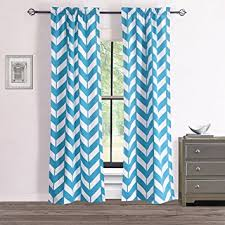 Teal And White Curtains Rhf Chevron Curtains Polyester Cotton Teal And