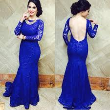 2017 royal blue lace mermaid prom dresses open back long sleeves