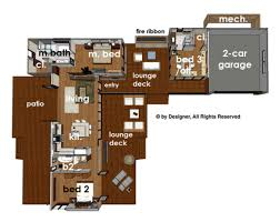 deck floor plan contemporary style house plan 3 beds 3 baths 1350 sq ft plan