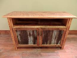 T V Stands With Cabinet Doors Arizona Style Barnwood Cabinet Tv Stand With Corrugated Metal In