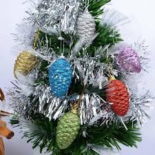 New Year Ornaments Craft Theme Shiny Glitter Pinecone Hanging Drop Tree