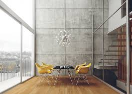 yellow and concrete dining room theme interior design ideas