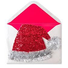tinsel glitter santa hat christmas greeting cards papyrus