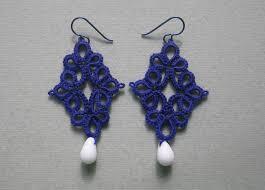 royal blue earrings tatting by wendy blue earrings