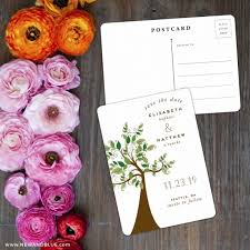 save the date post cards wedding tree save the date postcards
