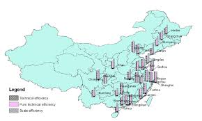 map of china and cities efficiency score map of the hotel industry in china s major cities