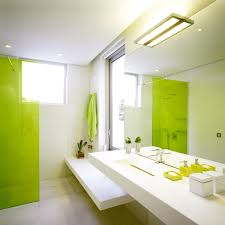 modern minimalist bathroom design with combination of lime green